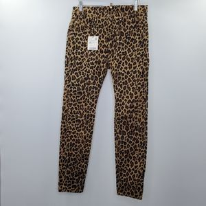 Zara Leopard Print Skinny Jeans Ankle Festival Boho Rocker NEW